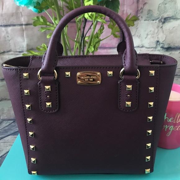 293da2d4f650a8 Michael Kors Bags | Plum Small Sandrine Stud Crossbody | Poshmark